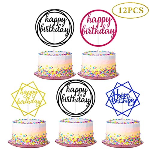 12Pcs Glittery Happy Birthday Cake Topper for Birthday Party Decorations,Birthday Party Cake Topper Decor,Boy Girls Birthday Cake Decor(Double Sided Glitter)